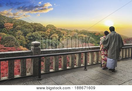 couple in love at mountain forrest view at sunset timeOsaka Japan