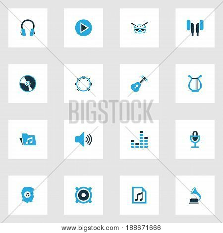 Multimedia Colorful Icons Set. Collection Of Headset, Headphone, Harp And Other Elements. Also Includes Symbols Such As Equalizer, Vinyl, Dossier.