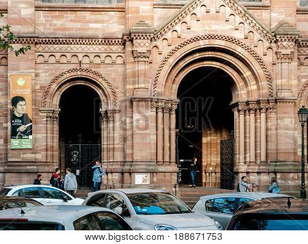STRASBOURG FRANCE - APR 27 2017: Entrance to the Temple Neuf church in Strasbourg. The Temple Neuf in Strasbourg is a Lutheran church built on the site of the former Dominican convent where Meister Eckhart studied