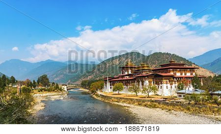 The Punakha Dzong Monastery in Bhutan Asia one of the largest monestary in Asiawith the landscape and mountains background PunakhaBhutan