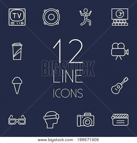 Set Of 12 Amusement Outline Icons Set.Collection Of Cinema, Speaker, Photo Camera And Other Elements.