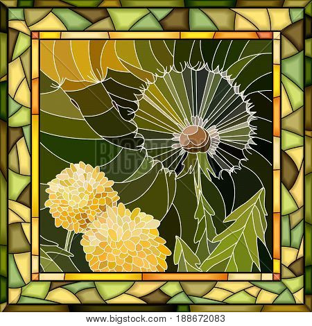 Vector abstract mosaic dandelion in square stained-glass window frame.