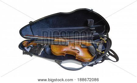 the violin on the black opened case.
