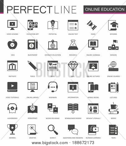 Black classic education, video online e-learning web icons set