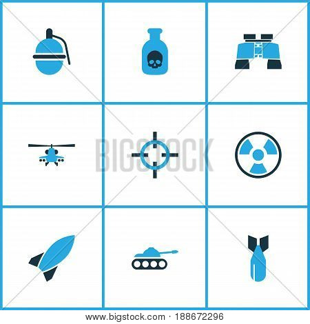 Warfare Colorful Icons Set. Collection Of Tank, Bio Hazard, Bomb And Other Elements. Also Includes Symbols Such As Glass, Helicopter, Armored.