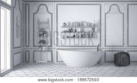 Unfinished project of white scandinavian bathroom sketch abstract interior design, 3d illustration