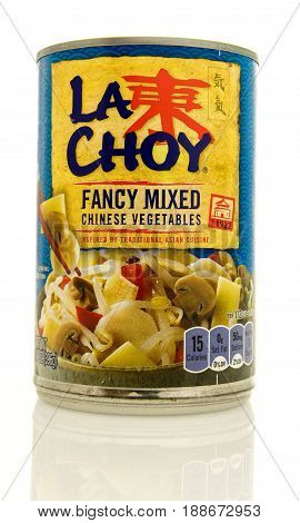 Winneconne WI - 16 May 2017: A can of La Choy fancy mixed vegetables on an isolated background.