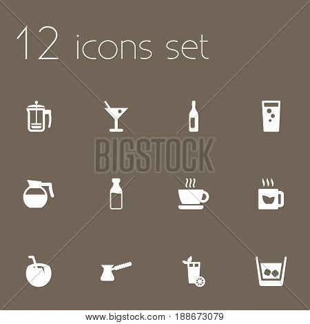 Set Of 12  Icons Set.Collection Of Soda, Cocktail, Turkish Coffee And Other Elements.