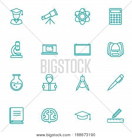 Set Of 16 Science Outline Icons Set.Collection Of Ruler, Brain, School Board And Other Elements.