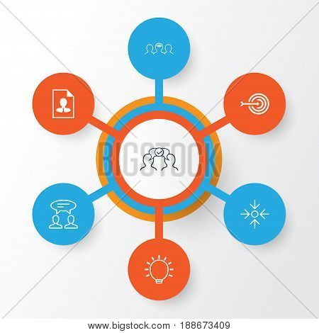 Corporate Icons Set. Collection Of Business Aim, Great Glimpse, Cv And Other Elements. Also Includes Symbols Such As Big, Communication, Cooperation.