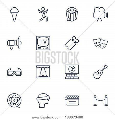 Set Of 16 Pleasure Outline Icons Set.Collection Of Ticket, Movie Cam, Barrier Rope And Other Elements.