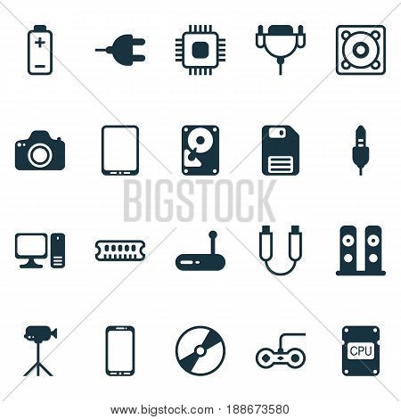 Hardware Icons Set. Collection Of Loudspeakers, Hdd, Desktop Computer And Other Elements. Also Includes Symbols Such As Floppy, Bass, Save.