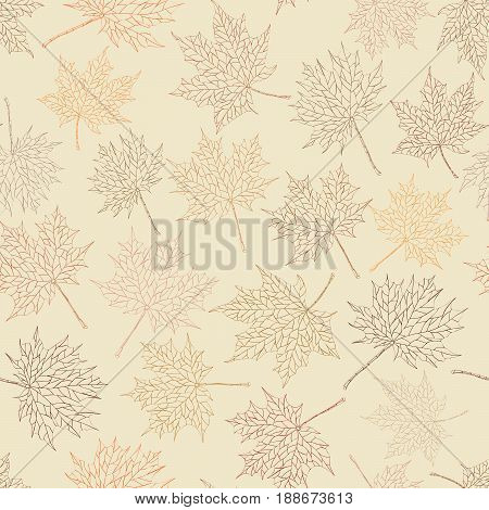 Vector abstract seamless background: autumn maple leaves in lines.