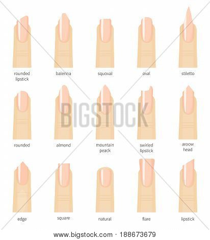 Different fashion nail shapes. Set kinds of natural color nails. Salon type trends. Cartoon style vector illustration