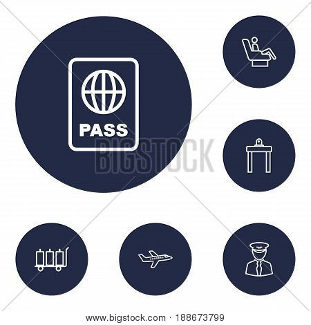 Set Of 6 Aircraft Outline Icons Set.Collection Of Luggage Trolley, Pilot, Certification And Other Elements.