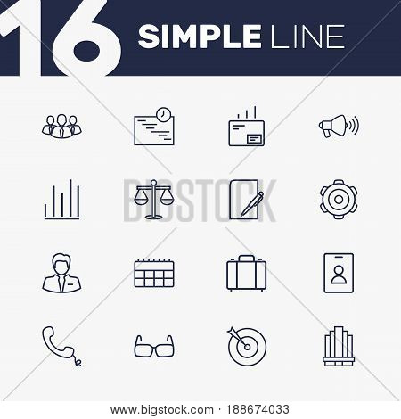 Set Of 16 Business Outline Icons Set.Collection Of Glasses, Loudspeaker, Chart And Other Elements.