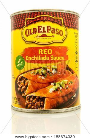 Winneconne WI - 16 May 2017: A can of Old El Paso red enchilada sauce on an isolated background.