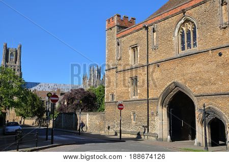 ELY, UK - MAY 26, 2017: View of Porta Gate (15th century medieval abbey gate) with the Cathedral in the background