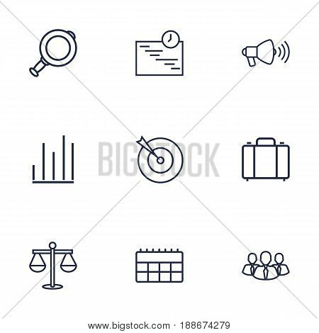 Set Of 9 Management Outline Icons Set.Collection Of Scales, Chart, Target And Other Elements.