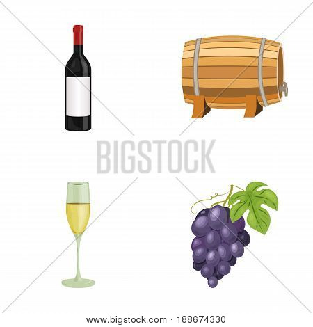 A bottle of red wine, a wine barrel, a glass of champagne, a bunch. Wine production set collection icons in cartoon style vector symbol stock illustration .