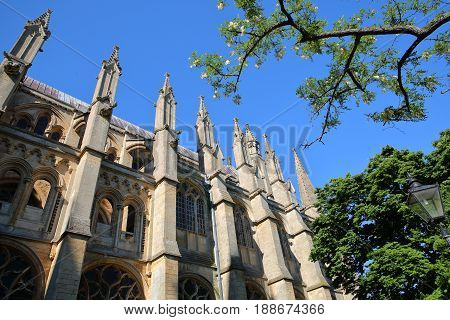 A wide-angle view of the South part of the Cathedral of Ely in Cambridgeshire, Norfolk, UK, with details of spires