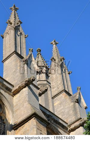 Close-up on gargoyles of the Cathedral of Ely in Cambridgeshire, Norfolk, UK