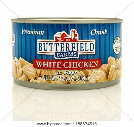 Winneconne WI - 16 May 2017: A can of Butterfield Farms white chicken meat on an isolated background.