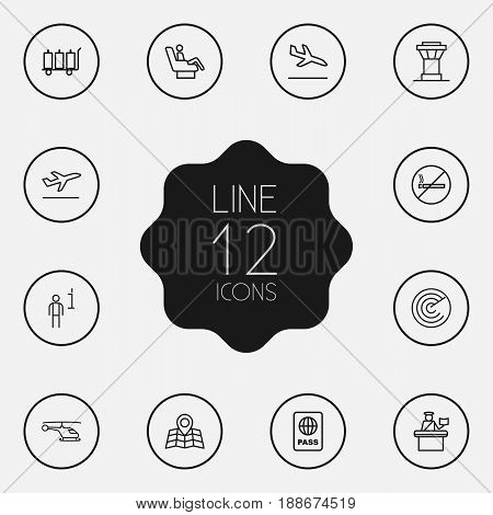 Set Of 12 Aircraft Outline Icons Set.Collection Of Sit, Certification, Map And Other Elements.