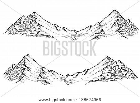 Set of hand drawn vector illustrations the mountains in engraving style