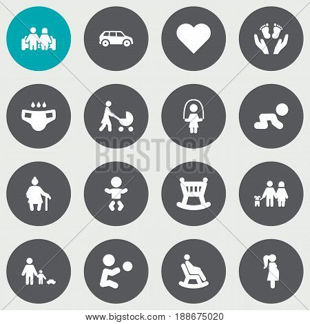 Set Of 16 People Icons Set.Collection Of Kid, Creep Baby, Married And Other Elements.