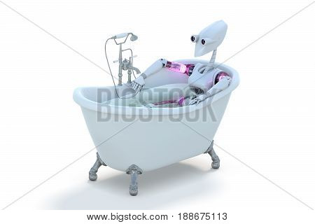 3d render of a robot taking a bath against a white background.