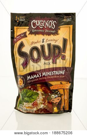 Winneconne WI - 16 May 2017: A bag of Cugino's soup mix in Mama's minestrone flavor on an isolated background