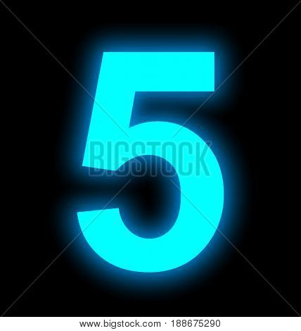 Number 5 Neon Light Full Isolated On Black