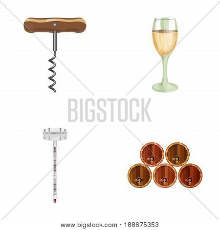Corkscrew, alcohol counter, barrels in the vault, a glass of white wine. Wine production set collection icons in cartoon style vector symbol stock illustration .
