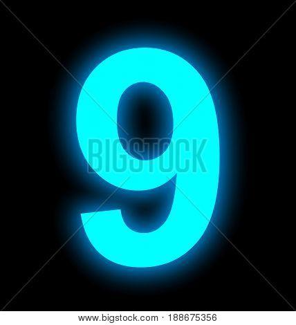 Number 9 Neon Light Full Isolated On Black