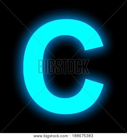 Letter C Neon Light Full Isolated On Black