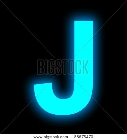 Letter J Neon Light Full Isolated On Black