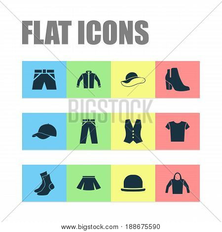 Clothes Icons Set. Collection Of Waistcoat, Trunks Cloth, Female Winter Shoes And Other Elements. Also Includes Symbols Such As Panama, Wear, Socks.