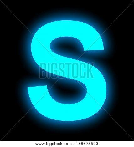 Letter S Neon Light Full Isolated On Black