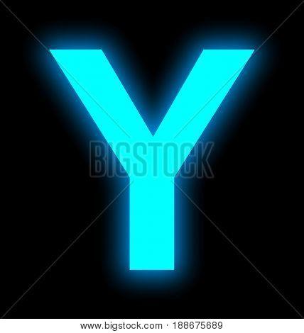 Letter Y Neon Light Full Isolated On Black