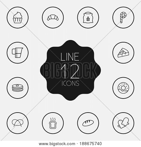 Set Of 12 Pastry Outline Icons Set.Collection Of Bread, Pancakes, Candy Cane Elements.