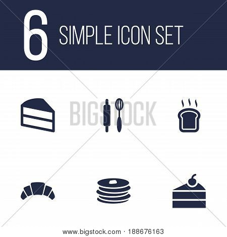 Set Of 6 Food Icons Set.Collection Of Crepe, Dessert, Slice Bread And Other Elements.