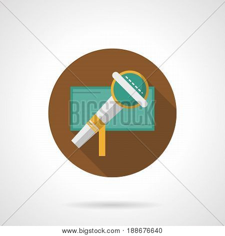 Abstract symbol of microphone. Vocal or karaoke party, musical entertainment. Round flat design vector icon.