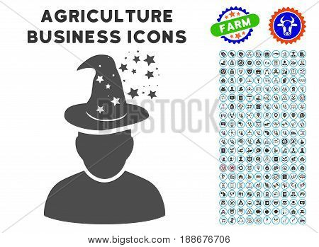 Magic Person gray icon with agriculture business icon collection. Vector illustration style is a flat iconic symbol. Agriculture icons are rounded with blue circles.