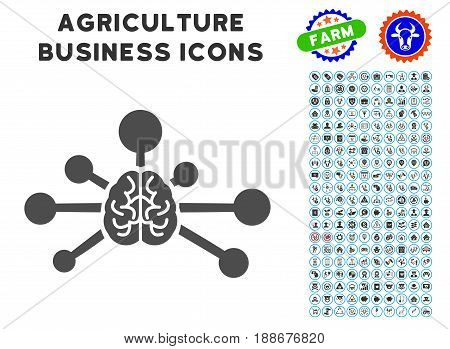 Mind Control Links gray icon with agriculture business icon clipart. Vector illustration style is a flat iconic symbol. Agriculture icons are rounded with blue circles.