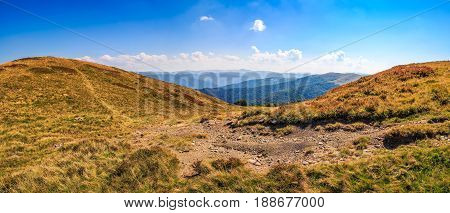 Hillside Panorama In Mountains With Path Uphill