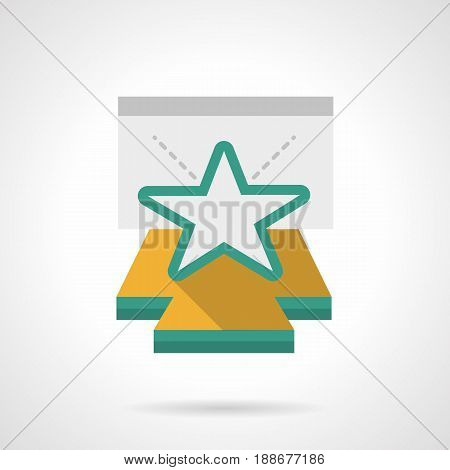 Abstract symbol of star on stage podium. Concert show and performances, entertainment events concept. Flat color style vector icon.