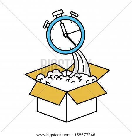 color sectors silhouette of cardboard box and stopwatch vector illustration