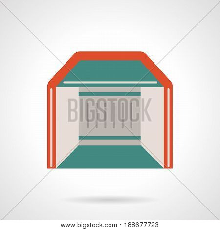 Abstract symbol of mobile pavilion. Commercial events and trading concept. Flat color style vector icon.