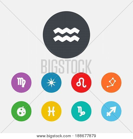 Set Of 9 Horoscope Icons Set.Collection Of Lunar, Solar, Fishes And Other Elements.
